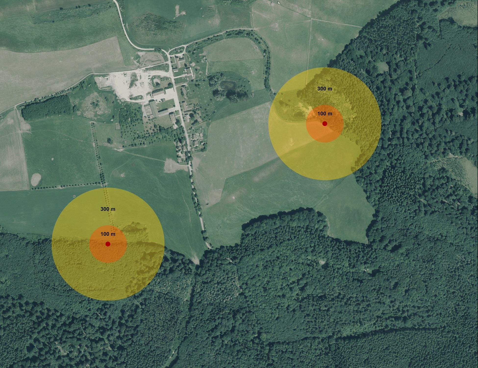 Nestschutzzonen. Luftbild: Google Maps